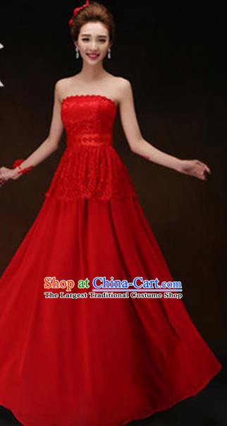 Top Grade Stage Performance Strapless Red Full Dress Compere Modern Fancywork Modern Dance Costume for Women