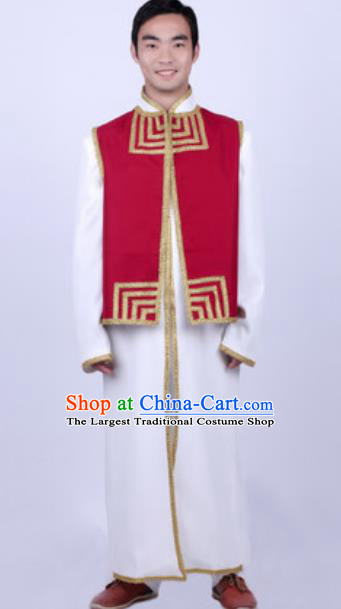 Chinese Nationality Ethnic Costume Traditional Minority Folk Dance Stage Performance Clothing for Men