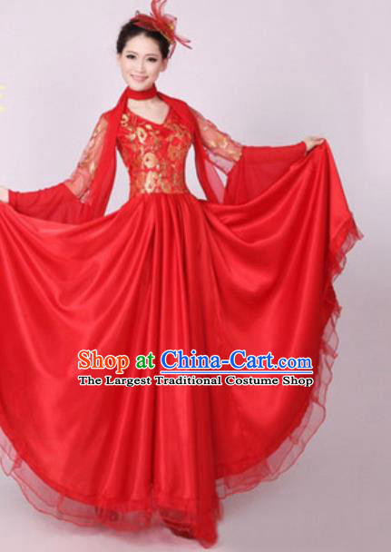 Top Grade Stage Performance Red Dress Compere Modern Dance Fancywork Modern Costume for Women