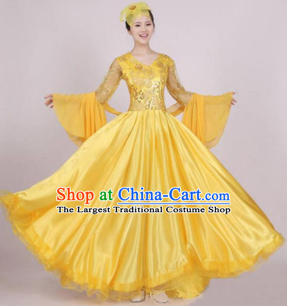 Top Grade Stage Performance Yellow Dress Compere Modern Dance Fancywork Modern Costume for Women
