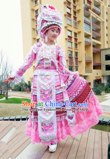 Traditional Chinese Minority Ethnic Folk Dance Bride Pink Dress Miao Nationality Stage Performance Costume and Hat for Women