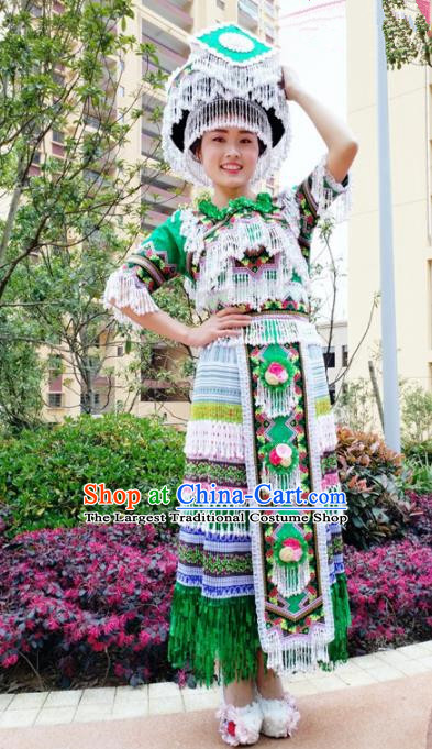 Traditional Chinese Minority Ethnic Folk Dance Green Dress Miao Nationality Stage Performance Costume and Hat for Women