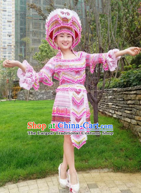 Traditional Chinese Minority Ethnic Bride Folk Dance Pink Short Dress Miao Nationality Stage Performance Costume and Hat for Women