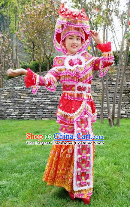 Traditional Chinese Minority Ethnic Bride Folk Dance Red Dress Miao Nationality Stage Performance Costume and Hat for Women