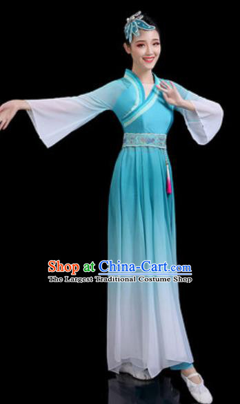 Traditional Chinese Classical Dance Blue Dress Umbrella Dance Stage Performance Costume for Women