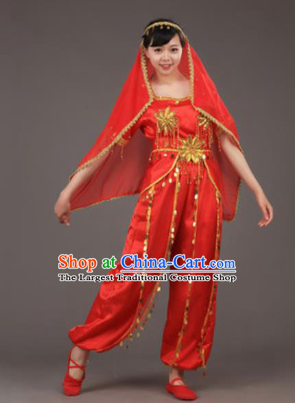 Chinese Uyghur Nationality Ethnic Red Costume Traditional Minority Folk Dance Stage Performance Clothing for Women