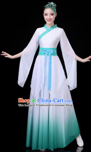 Traditional Chinese Classical Dance White Dress Umbrella Dance Stage Performance Costume for Women