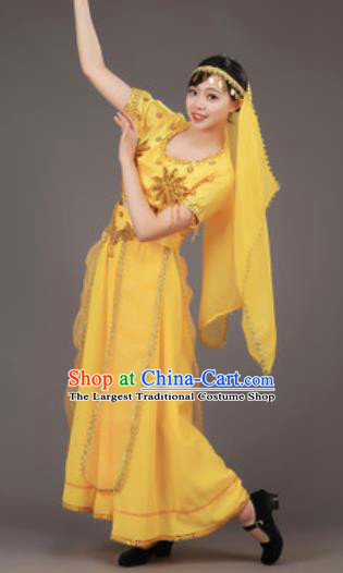 Chinese Uyghur Nationality Ethnic Yellow Costume Traditional Minority Folk Dance Stage Performance Clothing for Women
