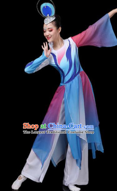 Traditional Chinese Classical Dance Dress Umbrella Dance Stage Performance Costume for Women