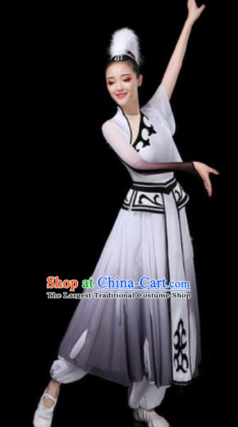 Traditional Chinese Classical Dance Grey Dress Umbrella Dance Stage Performance Costume for Women