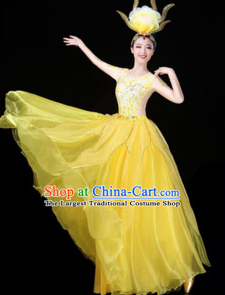 Traditional Chinese Opening Dance Yellow Veil Dress Modern Dance Stage Performance Costume for Women