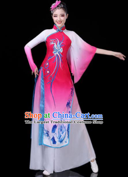 Traditional Chinese Classical Dance Rosy Dress Umbrella Dance Stage Performance Costume for Women
