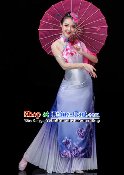 Traditional Chinese Classical Dance Light Blue Dress Umbrella Dance Stage Performance Costume for Women