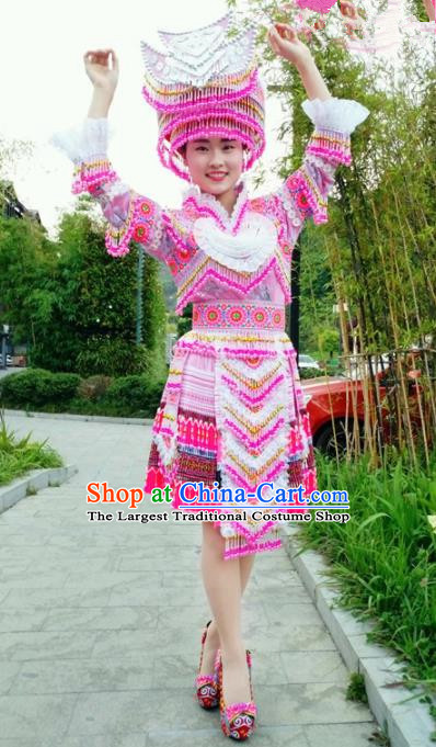 Traditional Chinese Minority Ethnic Folk Dance Embroidery Pink Short Dress Miao Nationality Stage Performance Costume and Hat for Women