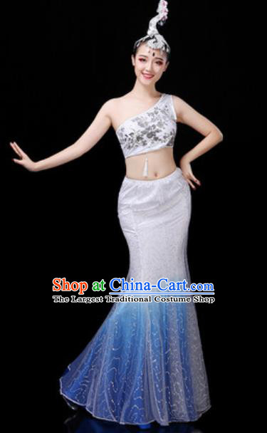 Traditional Chinese Minority Ethnic Peacock Dance White Dress Dai Nationality Stage Performance Costume for Women