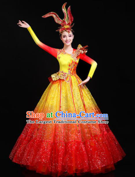 Traditional Chinese Opening Dance Red Veil Dress Modern Dance Stage Performance Costume for Women