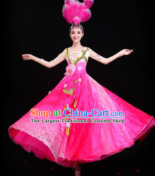 Traditional Chinese Spring Festival Gala Opening Dance Rosy Dress Modern Dance Stage Performance Costume for Women