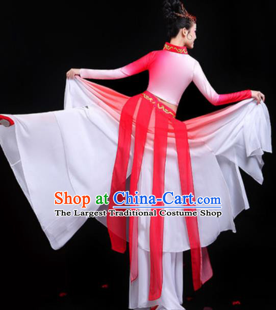 Traditional Chinese Classical Dance Group Dance Red Dress Umbrella Dance Stage Performance Costume for Women