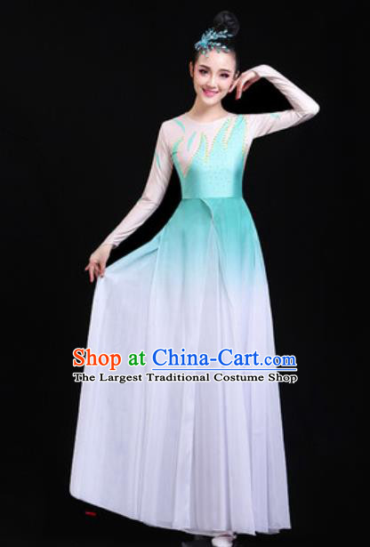 Traditional Chinese Classical Dance Group Dance Light Blue Dress Umbrella Dance Stage Performance Costume for Women