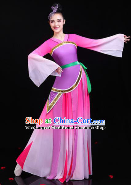 Traditional Chinese Classical Dance Group Dance Rosy Dress Umbrella Dance Stage Performance Costume for Women