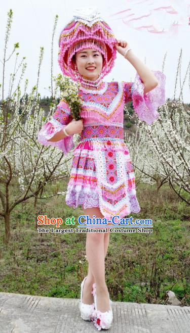 Traditional Chinese Minority Ethnic Folk Dance Pink Short Dress Miao Nationality Stage Performance Costume and Hat for Women