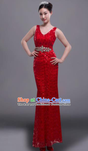 Top Grade Modern Fancywork Red Full Dress Modern Dance Compere Costume for Women