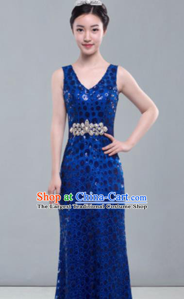 Top Grade Modern Fancywork Royalblue Full Dress Modern Dance Compere Costume for Women