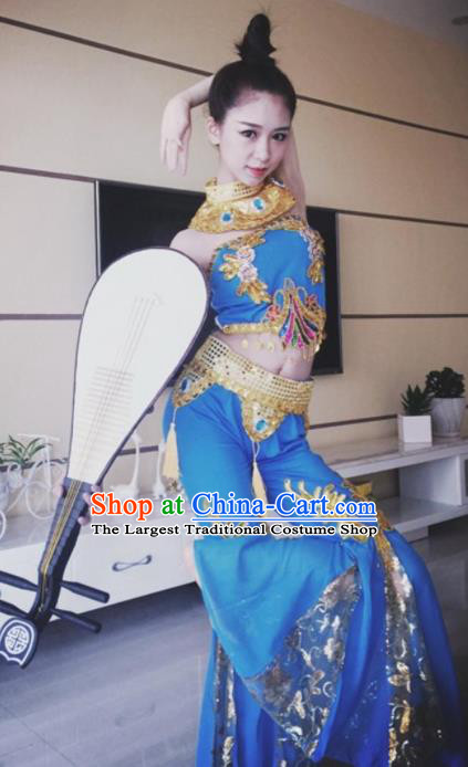 Chinese Traditional Classical Dance Blue Dress Dunhuang Flying Apsaras Stage Performance Costume for Women