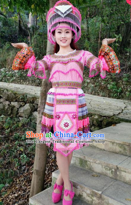 Chinese Traditional Miao Nationality Ethnic Embroidered Costume Minority Folk Dance Rosy Short Dress for Women