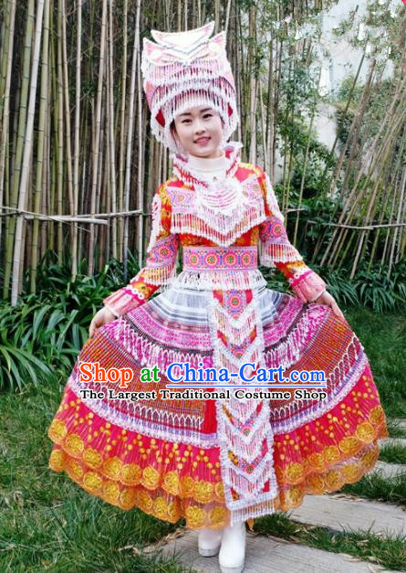 Chinese Traditional Miao Nationality Red Dress Minority Ethnic Folk Dance Embroidered Costume for Women