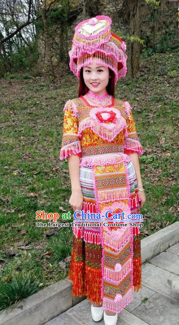 Chinese Traditional Miao Nationality Bride Red Dress Minority Ethnic Folk Dance Costume for Women