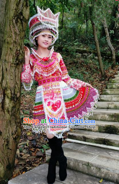 Chinese Traditional Miao Nationality Rosy Short Dress Minority Ethnic Folk Dance Costume for Women