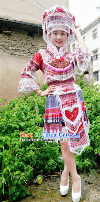 Traditional Chinese Miao Nationality Wedding Red Short Dress Minority Ethnic Folk Dance Costume for Women