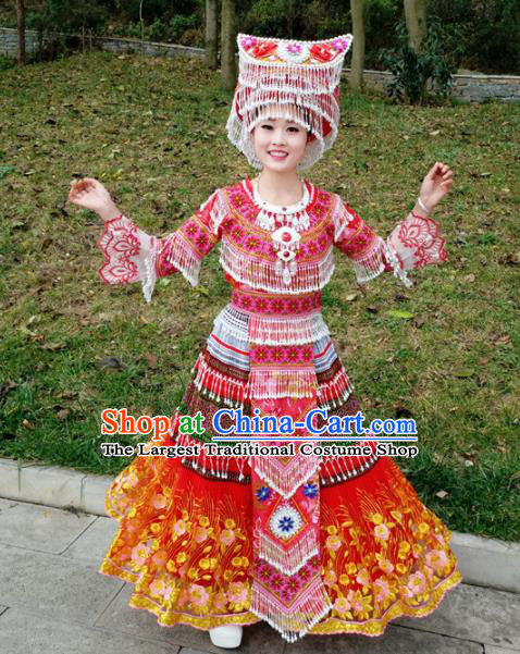 Traditional Chinese Miao Nationality Red Dress Minority Ethnic Folk Dance Costume for Women
