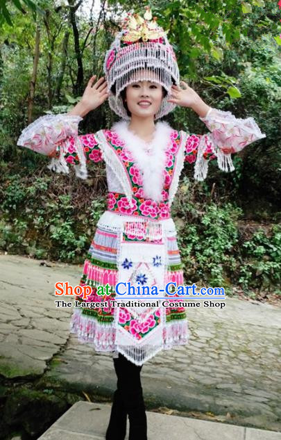 Traditional Chinese Miao Nationality White Short Dress Minority Ethnic Folk Dance Costume for Women