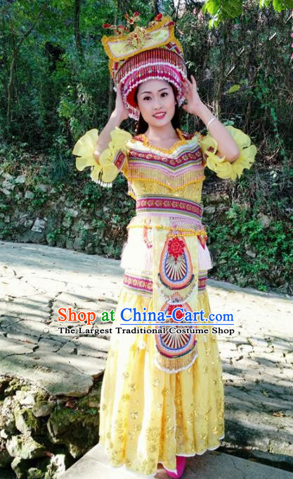 Chinese Traditional Miao Nationality Yellow Dress Minority Ethnic Folk Dance Costume for Women
