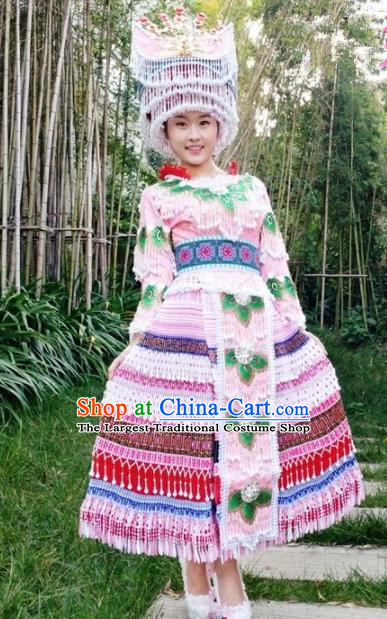 Traditional Chinese Miao Nationality Pink Pleated Dress Minority Ethnic Folk Dance Costume and Hat for Women