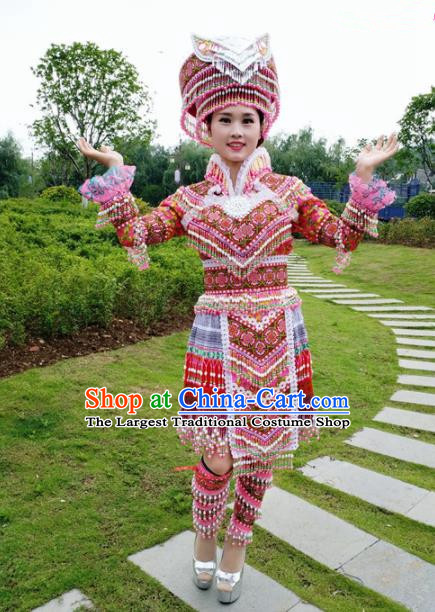 Traditional Chinese Miao Nationality Red Short Pleated Dress Minority Ethnic Folk Dance Costume and Hat for Women