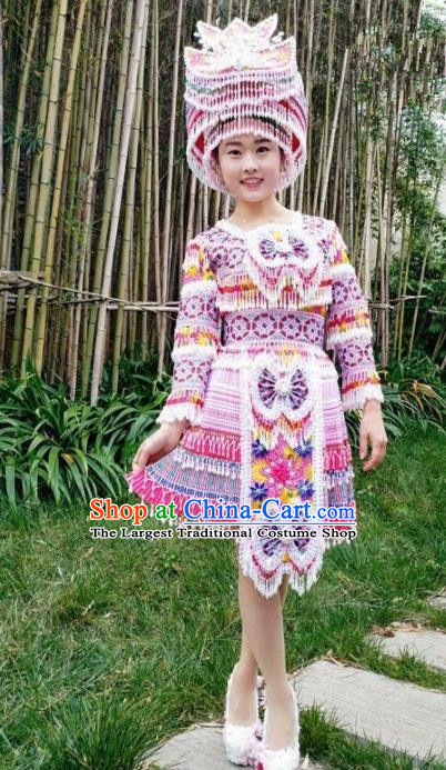 Chinese Traditional Miao Nationality Light Purple Short Dress Minority Ethnic Folk Dance Costume for Women