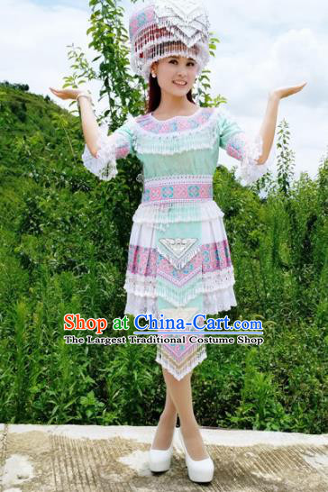 Traditional Chinese Miao Nationality Folk Dance Green Short Dress Minority Ethnic Wedding Stage Performance Costume for Women