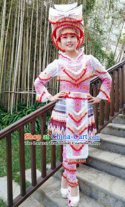Traditional Chinese Miao Nationality Folk Dance Beads Tassel Short Dress Minority Ethnic Wedding Stage Performance Costume for Women