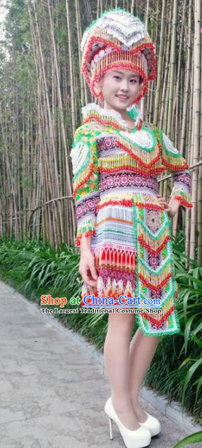 Chinese Traditional Miao Nationality Green Beads Short Dress Minority Ethnic Folk Dance Costume for Women