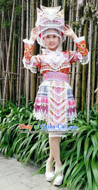 Traditional Chinese Miao Nationality Bride Red Short Dress Minority Ethnic Folk Dance Costume for Women