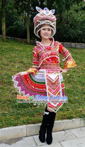 Traditional Chinese Miao Nationality Stage Performance Costume Minority Ethnic Folk Dance Red Short Dress and Hat for Women