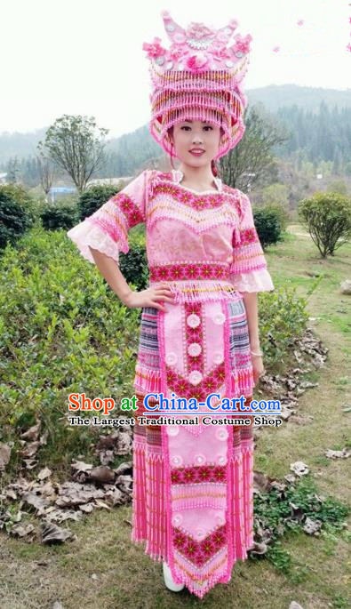 Traditional Chinese Miao Nationality Stage Performance Costume Minority Ethnic Folk Dance Pink Dress and Hat for Women