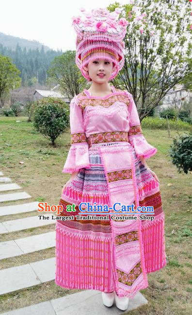 Traditional Chinese Minority Ethnic Folk Dance Pink Dress Miao Nationality Stage Performance Costume and Hat for Women