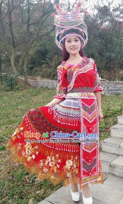 Traditional Chinese Minority Ethnic Folk Dance Red Dress Miao Nationality Stage Performance Costume and Hat for Women