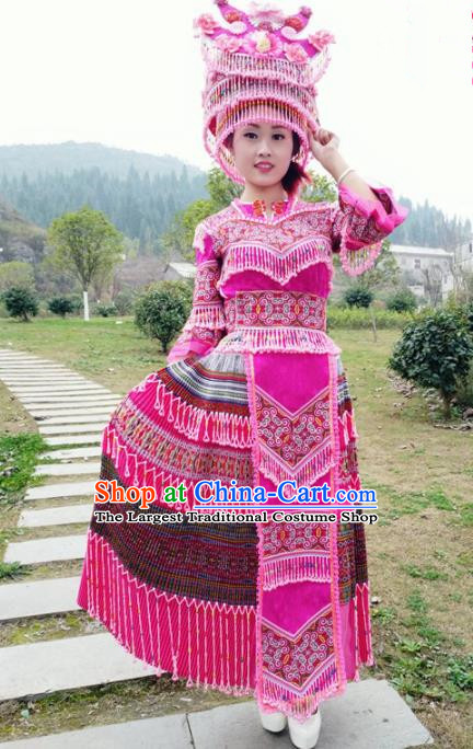 Traditional Chinese Minority Ethnic Folk Dance Rosy Dress Miao Nationality Stage Performance Costume and Hat for Women