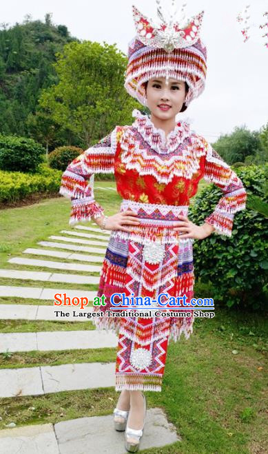 Traditional Chinese Minority Ethnic Folk Dance Red Short Dress Miao Nationality Stage Performance Costume and Hat for Women
