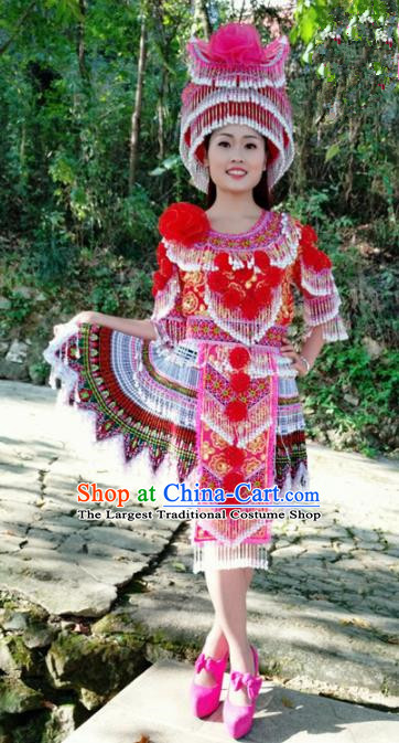 Traditional Chinese Minority Ethnic Folk Dance Pleated Skirt Miao Nationality Stage Performance Costume and Hat for Women